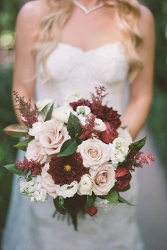wedding bouquet ideas rose gold and marsala wedding bouquet