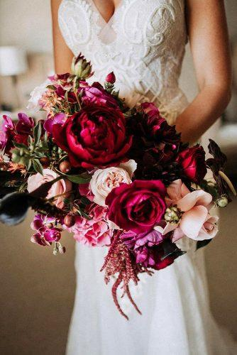 wedding bouquet ideas with burgundy roses and orchids natasjakremers via instagram
