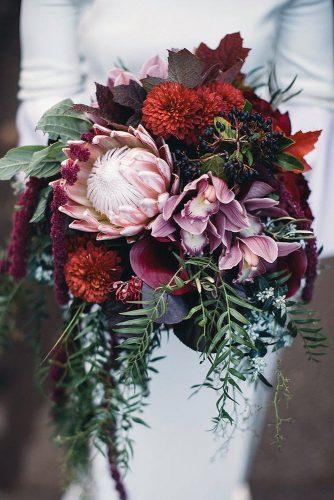 wedding bouquet ideas with greenery dahlias and orchids leofarrellphoto via instagram