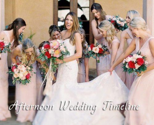 wedding day timeline afternoon timeline bride with bridesmaids happy