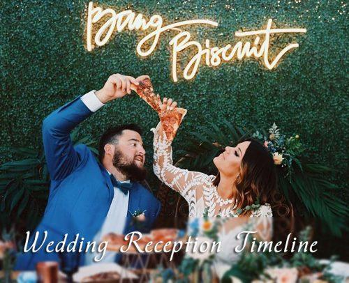 wedding day timeline wedding reception newlyweds with pizza