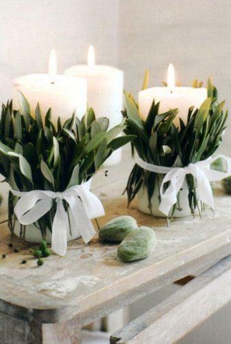 wedding greenery candles with leaves scottandrewstudio