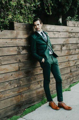 wedding greenery green groom suit with brown shoes h&m