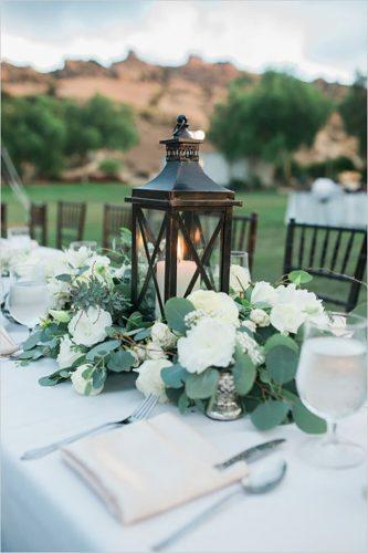 wedding table decorations-greenery with lantern anya kernes photography
