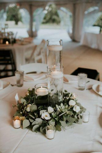 wedding-table-decorations-greenry with candles lauren louise photography