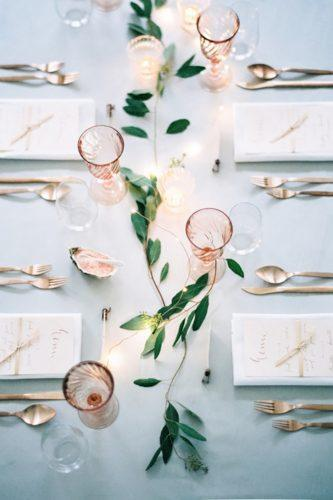 wedding table decorations minimalist with greenery design peaches mint photography