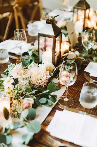 wedding table decorations romantic decor-with-lanterns-and greenery patfureyphoto