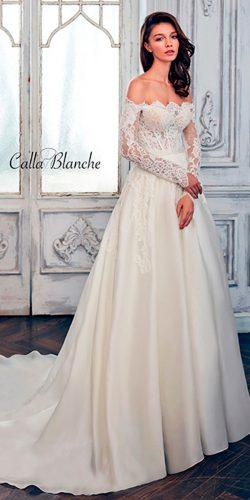 a line lace off the shoulder with long slevees calla blanche wedding dresses