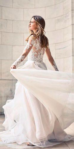 a line lace wedding dresses 2018 with long sleeves monique lhuillier