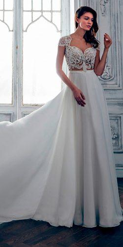 a line separetes sweetheart with short sleeves calla blanche wedding dresses