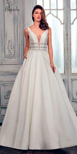 a line v neckline with cap sleeves calla blanche wedding dresses
