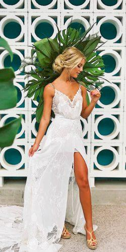 casual wedding dresses straight spaghetti strap lace with high slit elyse hall