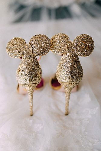 disney wedding gold shiny shoes with mickey mouse ears disney weddings via instagram
