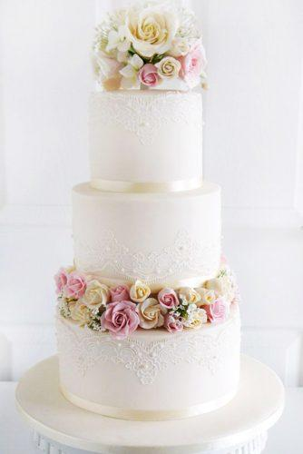 elegant wedding cakes lace with lots of small roses morningside bakes