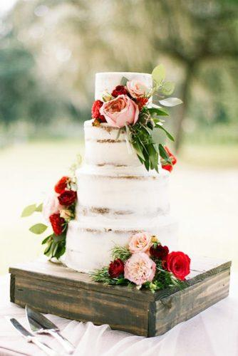 elegant wedding cakes naked on wooden pedestal emily katharine