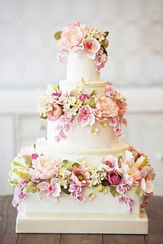 elegant wedding cakes square with lots pinky flowers bobbette belle