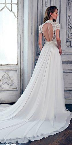 lace a line open back with short sleeves calla blanche wedding dresses