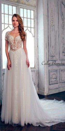 lace a line sweetheart with short sleeves calla blanche wedding dresses
