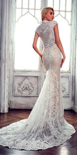 lace mermaid close back with short sleeves and train calla blanche wedding dresses