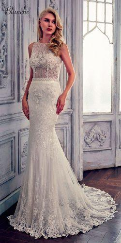 lace mermaid illusion bateau neckline calla blanche wedding dresses