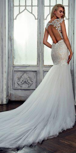 lace mermaid open back with short sleeves and train calla blanche wedding dresses