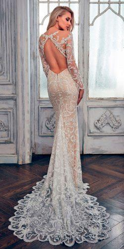 lace mermaid open back with train calla blanche wedding dresses