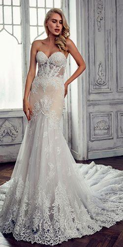 lace mermaid sweetheart with train calla blanche wedding dresses