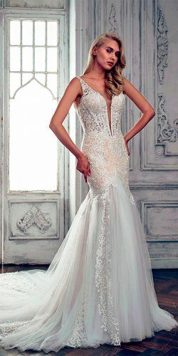 lace mermaid v neckline with cap sleeves calla blanche wedding dresses