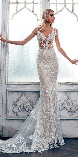 lace mermaid v neckline with train calla blanche wedding dresses