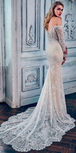 lace mermaid v shape back off shoulder with long sleeves calla blanche wedding dresses