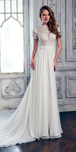 lace sheath high neckline with short sleeves calla blanche wedding dresses