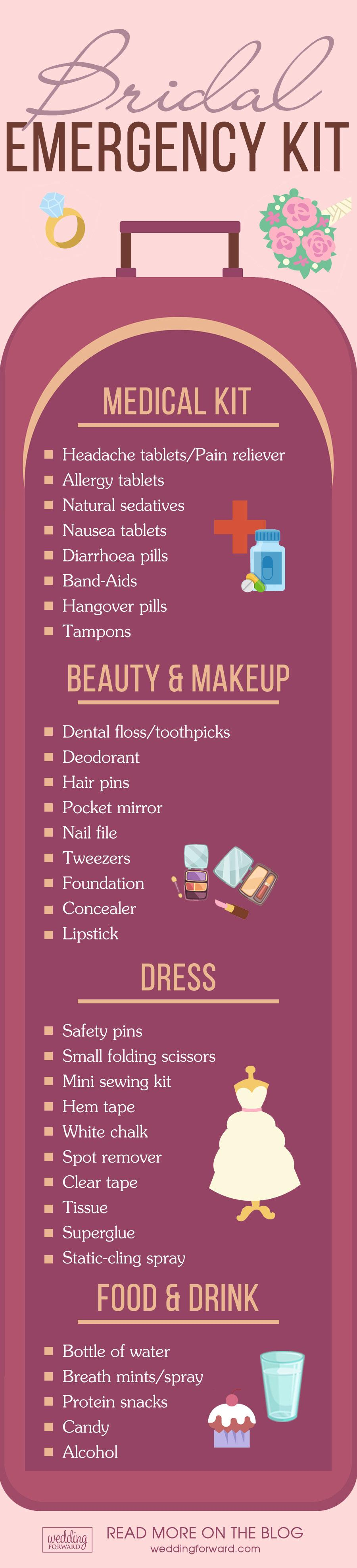 list bridal emergency kit with medical beauty and makeup dress food drink