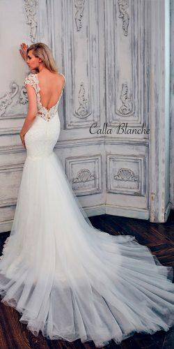 mermaid lace open back with short sleeves calla blanche wedding dresses