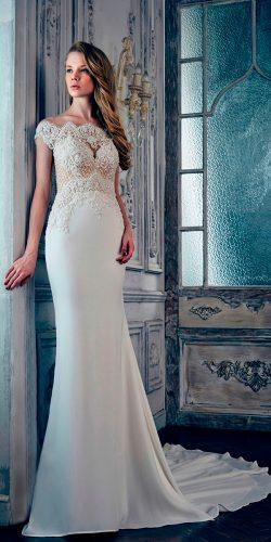 mermaid lace sweetheart off shoulder calla blanche wedding dresses