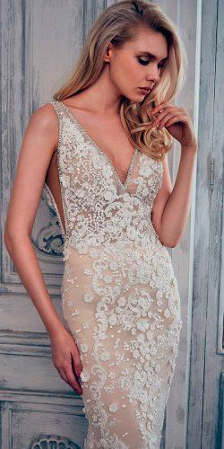 mermaid lace v neckline calla blanche wedding dresses