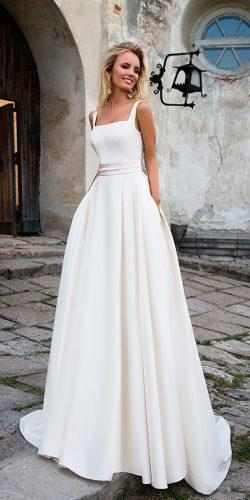 simple a line square neck casual wedding dresses with belt oksana mukha