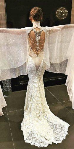open back sequins sleeves lace skirt wedding dresses galia lahav