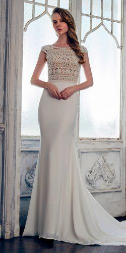 sheath high neckline with short sleeves calla blanche wedding dresses