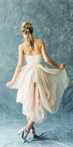 silk crepe strapless neckline short wedding dresses carol hannah