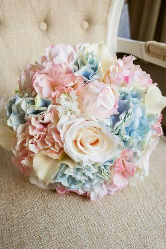 silk wedding bouquets blue ivory pink roses laurel weddings