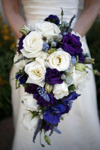 silk wedding bouquets cascade with white and blue roses the marin studio