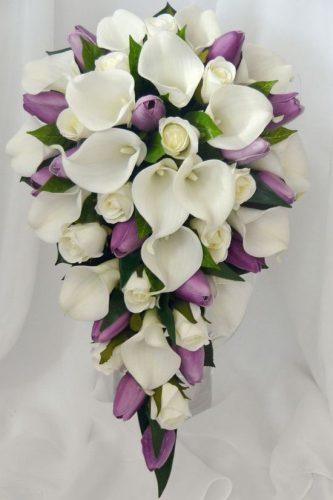 silk wedding bouquets cascading lavender tulps floral land florist
