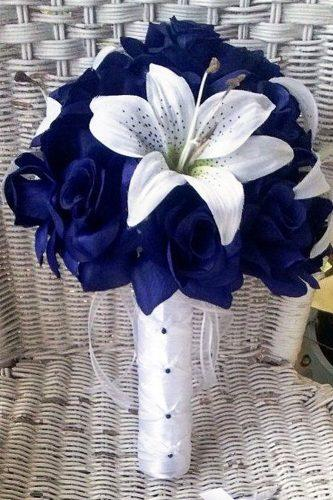 silk wedding bouquets navy roses white lily silk flowers by jean