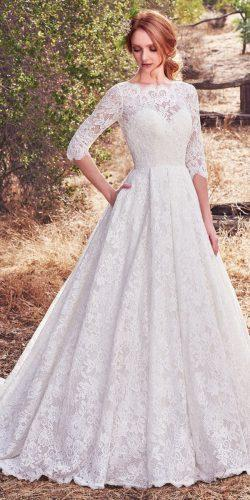 vintage inspired wedding dress full lace three quarter sleeves bateau neckline and square back maggie sottero collection 2018