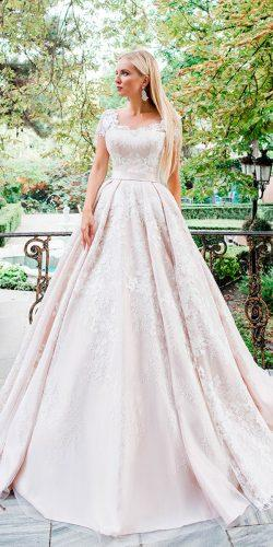 wedding dresses 2018 ball gown blush lace sleeves straight neck oksana mukha faride