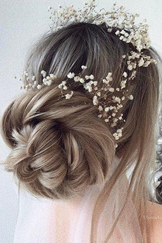 wedding updos for long hair babys breath tender updo ulyanaaster