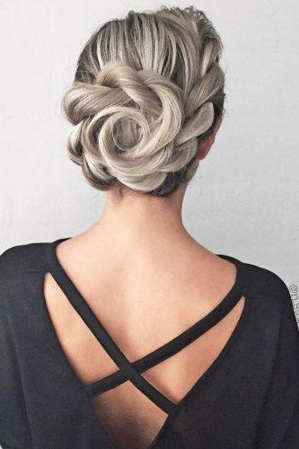 wedding updos for long hair flower updo nstarck