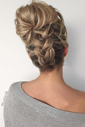 wedding updos for long hair high braided bun nstarck