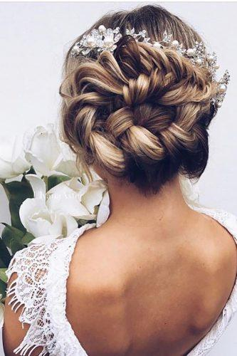 wedding updos for long hair tender updo with flowers ulyanaaster
