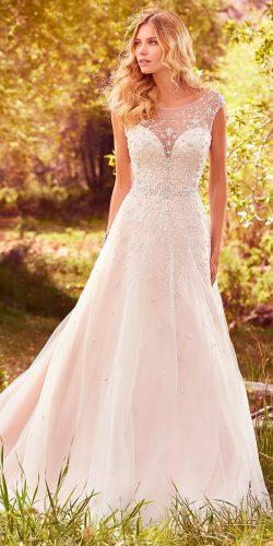 a line beaded embroidery bodice with illusion cap sleeves maggie sottero wedding dresses 2017 style freesia